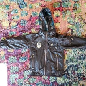 Boy's faux leather bomber embroidered jacket